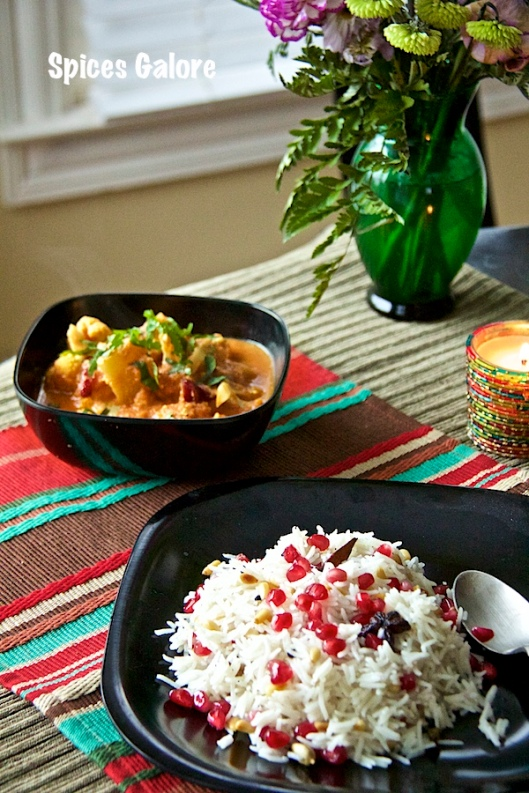 Pomegranate-Pine Nut Rice with Cauliflower- Pineapple Curry
